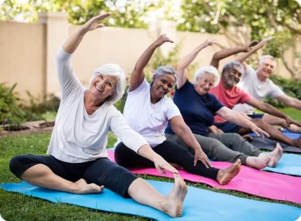 group of seniors having exercise