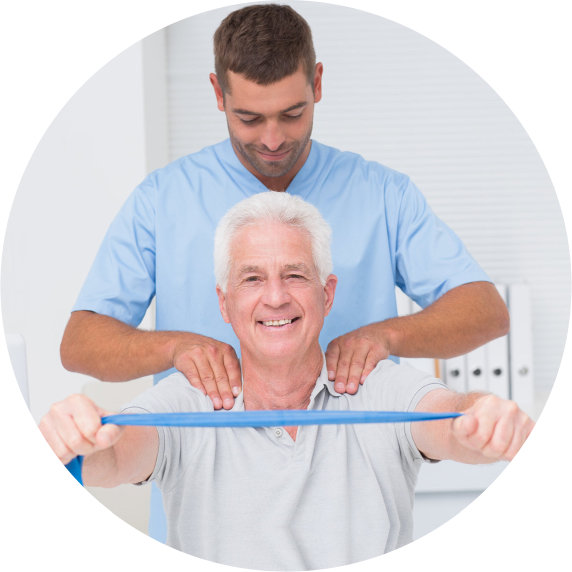 senior man with physical therapist