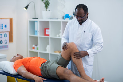 patient doing physical therapy